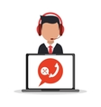 Man operator and laptop design vector image vector image