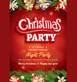merry christmas party and greeting card on red vector image vector image