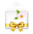 Open Envelope With Golden Bow And Flower vector image