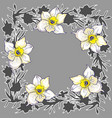 ornamental lloral round frame with hand drawn vector image