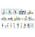 people in the airport interior passing security vector image vector image