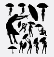 People with umbrella silhouette vector image vector image