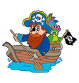 pirate with parrot paddling in boat vector image vector image