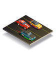 race track cars composition vector image vector image