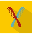 Red and blue combs icon flat style vector image