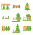 set of flat icons in shading style parks vector image vector image