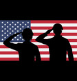 silhouette american soldiers salute on usa flag vector image