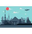silhouette tokyo city in japanjapan landmarks vector image vector image