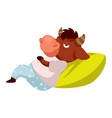 sleepy buffalo laying on pillow tired or lazy vector image vector image