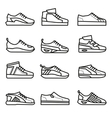 Sneakers running shoes thin line icons set vector image