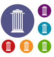 street trash icons set vector image vector image
