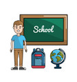 Student with board backpack and earth planet desk vector image