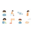 the sick man icons in set collection for design vector image