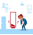 tired business man over empty red battery vector image
