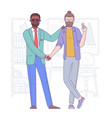 two young men shaking hands vector image