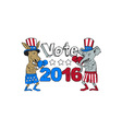 Vote 2016 Donkey Boxer and Elephant Mascot Cartoon vector image vector image