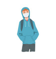 young man in hoodie wearing protective mask vector image