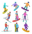 young people ride downhill in winter sports vector image vector image