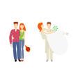 flat young couple newlywed couple set vector image