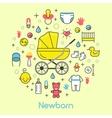 Newborn Baby Line Art Thin Icons Set vector image