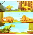 Dinosaurus 3 Horizontal Retro Banners Collection vector image