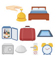 hotel set icons in cartoon style big collection vector image