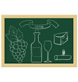 a bottle wine grapes wine glass cheese vector image