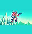 alien warrior armed transformer robot flying vector image