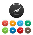 andesaurus icons set color vector image vector image