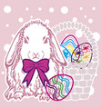background easter bunny with eggs version 1 vector image