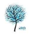 Background with winter tree of vector image