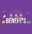 benefits big word or text with team people and vector image vector image
