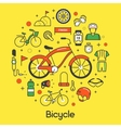 Bicycle and Biking Thin Line Icons Set vector image vector image