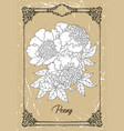 black and white drawing peony flower vector image vector image