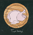 black chalk board background whole raw turkey vector image