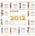 calendar 2012 with africa woman vector image vector image