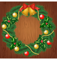 christmas garland on wood background vector image
