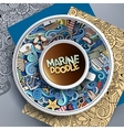 Cup of coffee marine doodle vector image vector image