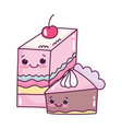 cute food slice jelly with fruit and slice cake vector image