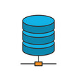 data storage flat line icon vector image vector image