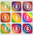 Dollar icon sign Nine buttons with bright vector image
