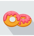 donut icon with pink glaze with long shadow vector image vector image