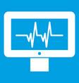 electrocardiogram monitor icon white vector image vector image
