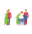 flat man pregnant woman with baby stroller vector image vector image