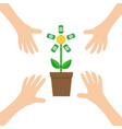 four hands arm reaching to growing money tree vector image vector image