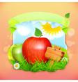 fresh fruit label apple background for making