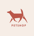 geometric logotype with silhouette walking dog vector image