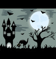 halloween night background with creepy house and vector image vector image
