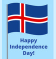 happy independence day iceland vector image vector image