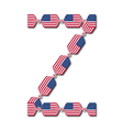 Letter Z made of USA flags in form of candies vector image
